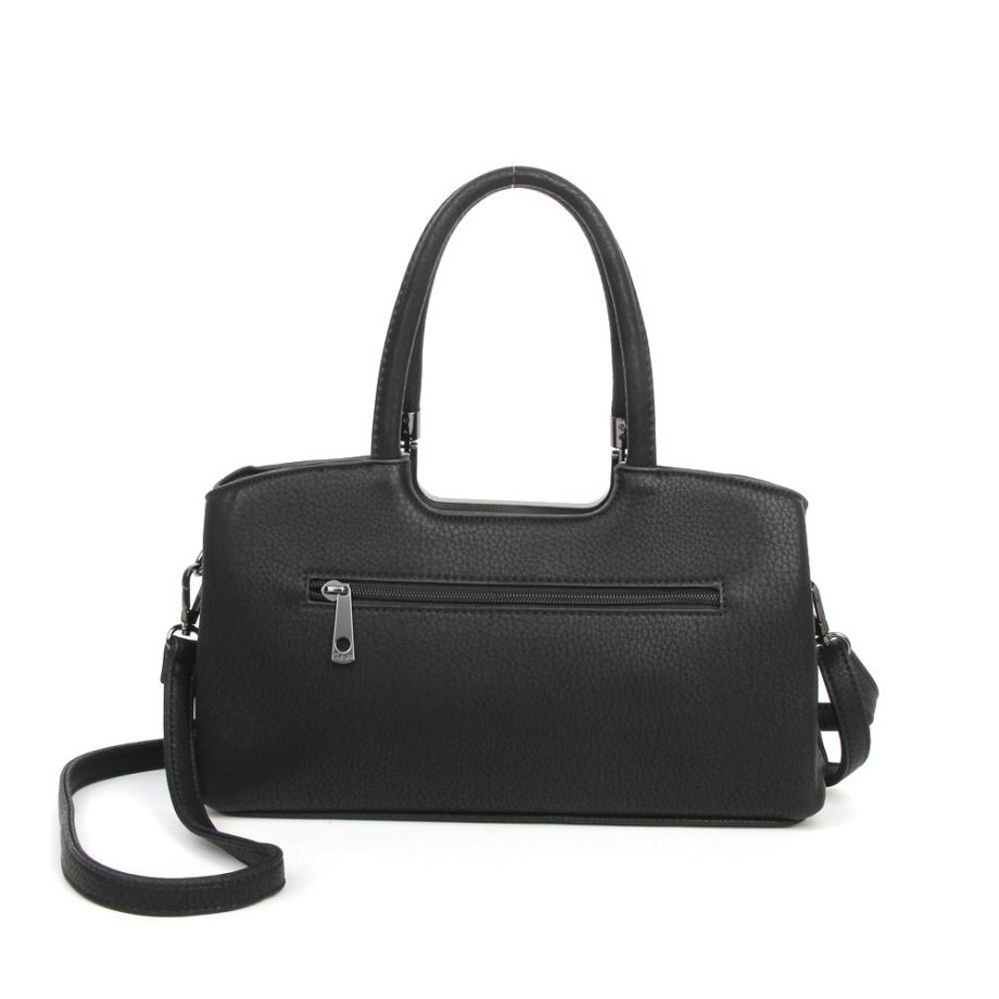 damen Henkeltasche Lena, Leder Vegan, Crossbody Bag, Crossbody, Messenger Bag, Shopper Schwarz, Ansicht Hinten B-Material
