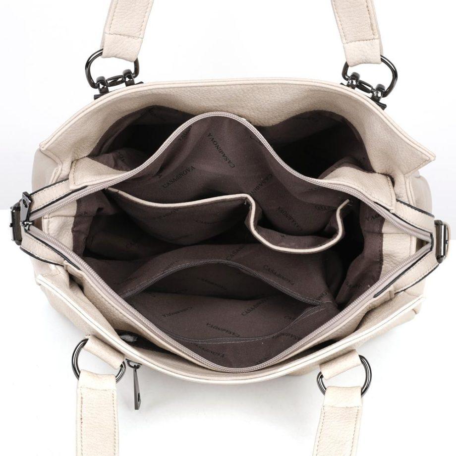damen Schultertasche Alina, Leder Vegan, Crossbody Bag, Crossbody, Messenger Bag, Shopper Beige, Ansicht Oben B-Material