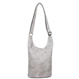 damen umhängetasche Clara, Leder Vegan, Crossbody Bag, Crossbody, Messenger Bag, dunkel Grau, MO-Material