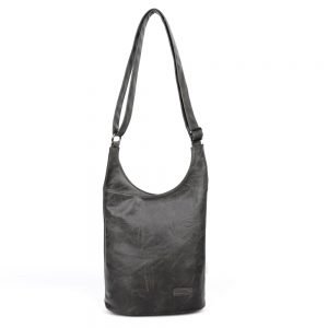 damen umhängetasche Clara, Leder Vegan, Crossbody Bag, Crossbody, Messenger Bag, Schwarz, SR-Material