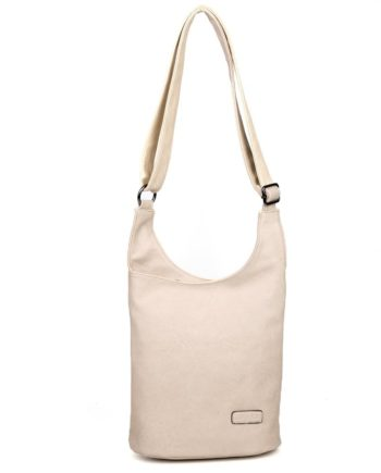 Damen Umhängetasche Anna, Leder Vegan, Crossbody Bag, Crossbody, Messenger Bag, Beige