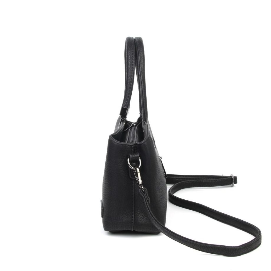 damen Henkeltasche Lena, Leder Vegan, Crossbody Bag, Crossbody, Messenger Bag, Shopper Schwarz, Ansicht Seite B-Material