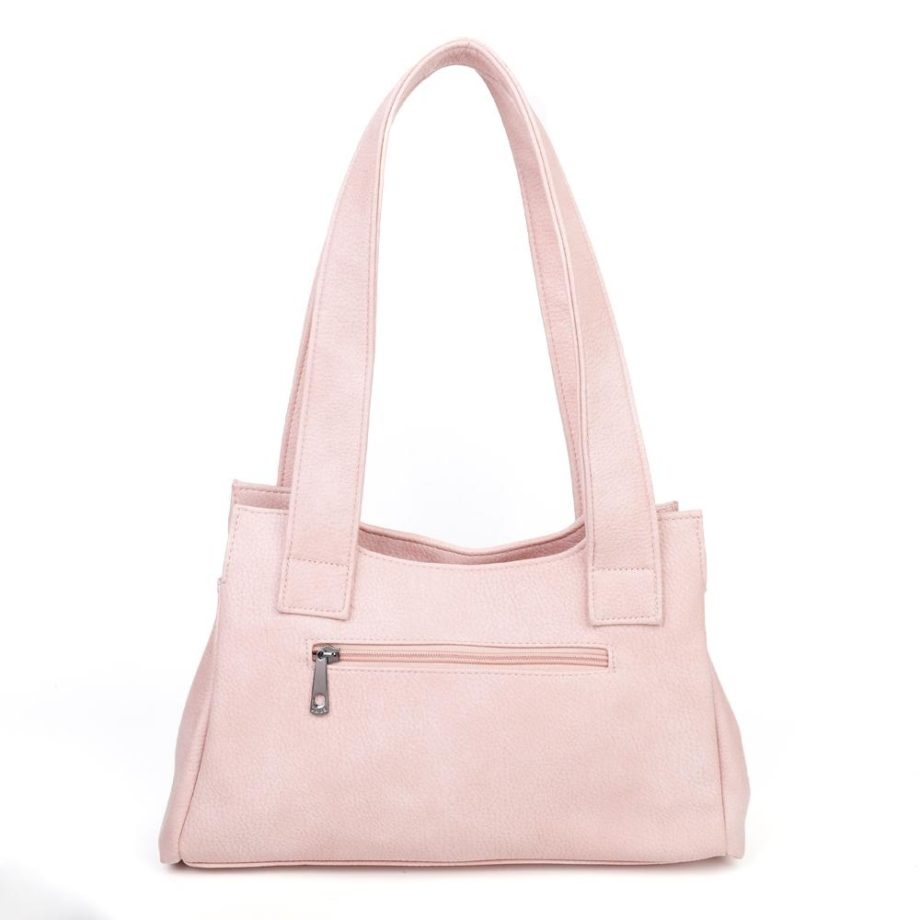 damen Schultertasche Pauline, Leder Vegan, Crossbody Bag, Crossbody, Messenger Bag, Shopper Rose, Ansicht Hinten B-Material