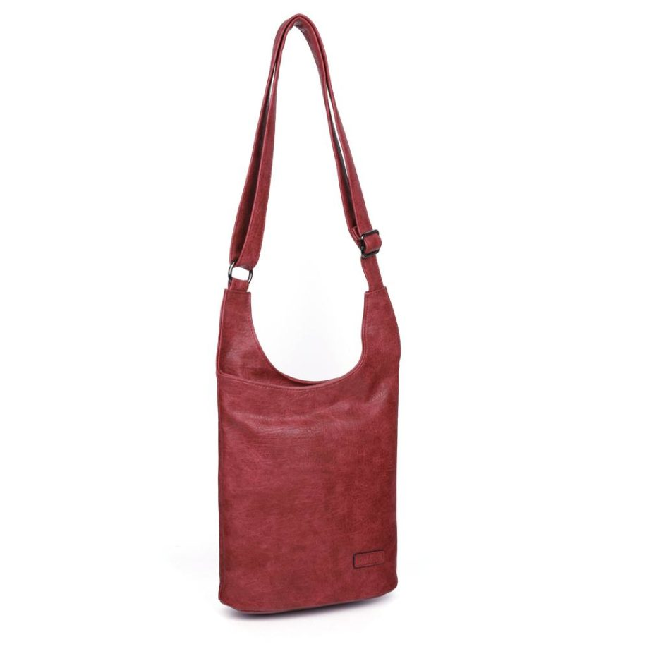 damen umhängetasche Clara, Leder Vegan, Crossbody Bag, Crossbody, Messenger Bag, Rot, Ansicht Schräg H-Material