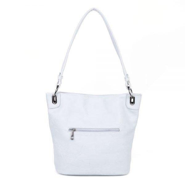 damen Shopper Tasche Nele, Leder Vegan, Crossbody Bag, Crossbody, Messenger Bag, Hell Blau, Ansicht Hinten BS-Material