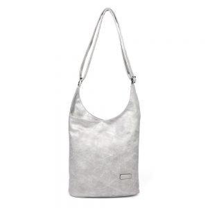 damen umhängetasche Emilia, Leder Vegan, Crossbody Bag, Crossbody, Messenger Bag, Silber, SR-Material