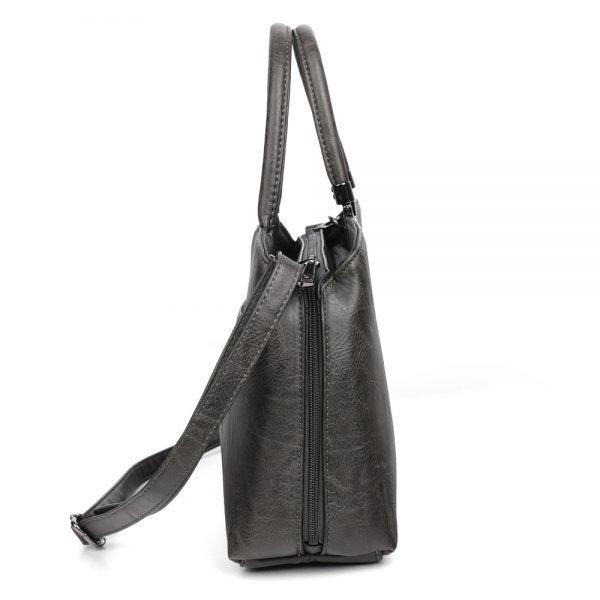 damen henkeltasche Johanna, Leder Vegan, Crossbody Bag, Crossbody, Messenger Bag, Schwarz, Ansicht Seite SR-Material
