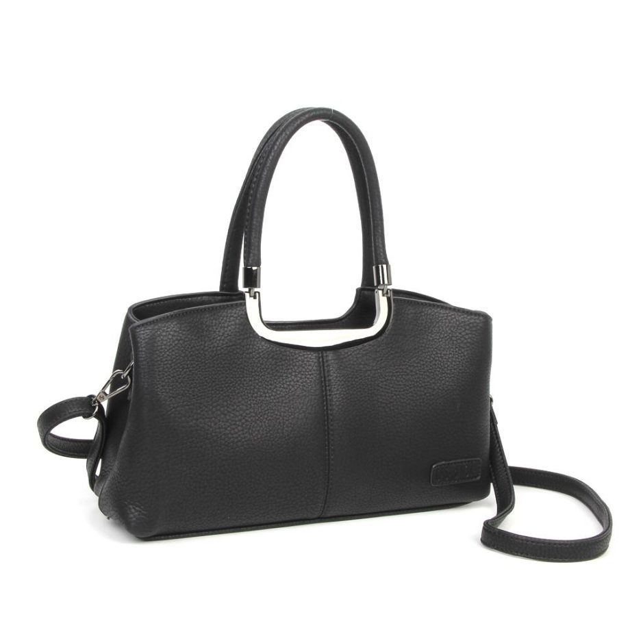 damen Henkeltasche Lena, Leder Vegan, Crossbody Bag, Crossbody, Messenger Bag, Shopper Schwarz, Ansicht Schräg B-Material