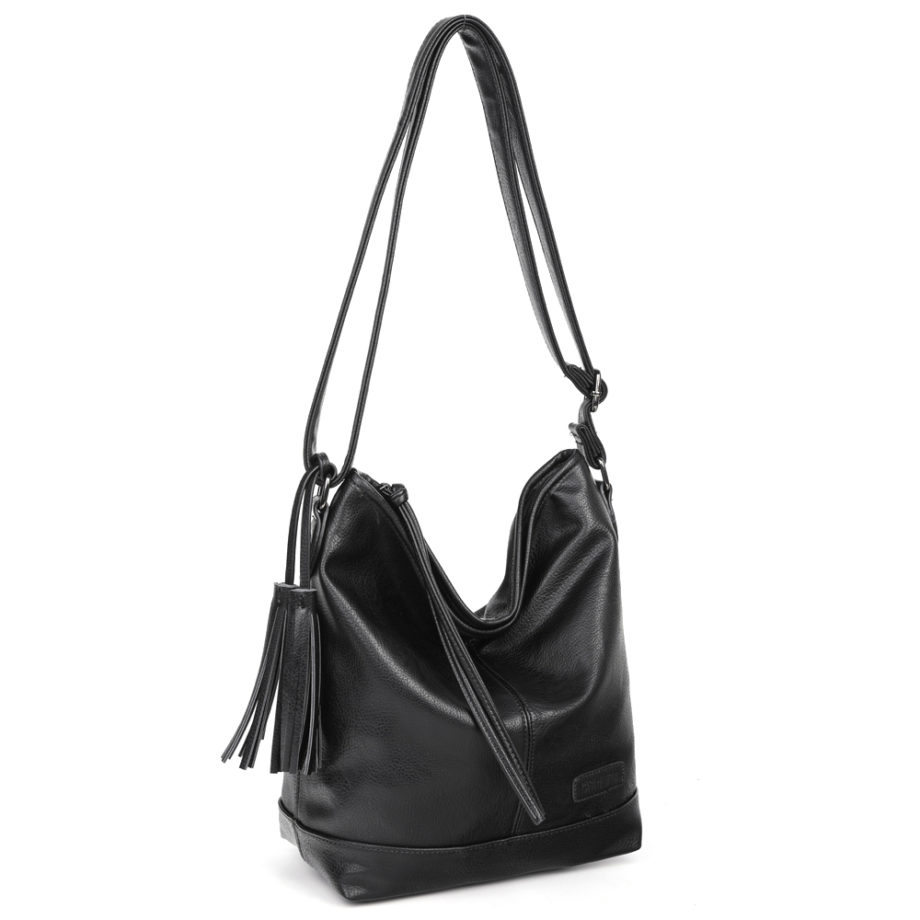 damen Shopper Tasche Nora, Leder Vegan, Crossbody Bag, Crossbody, Messenger Bag, Schwarz, Ansicht Schräg BS-Material