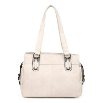 damen Schultertasche Alina, Leder Vegan, Crossbody Bag, Crossbody, Messenger Bag, Beige, Shopper B-Material