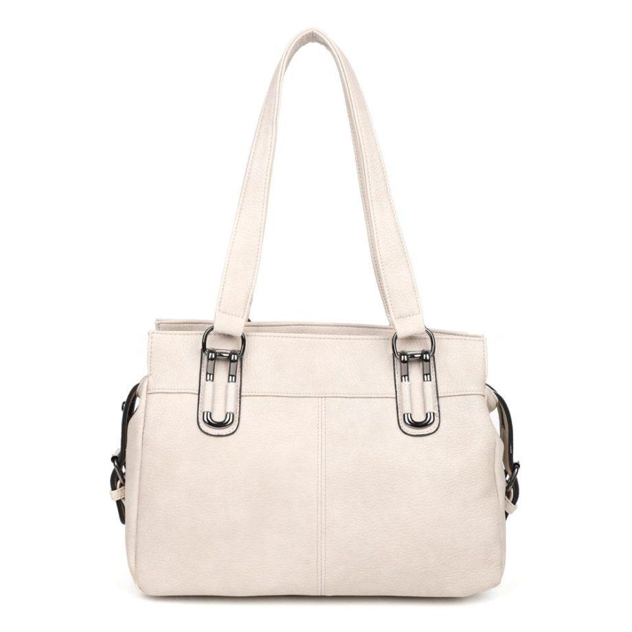 damen Schultertasche Alina, Leder Vegan, Crossbody Bag, Crossbody, Messenger Bag, Beige, Shopper B-Material