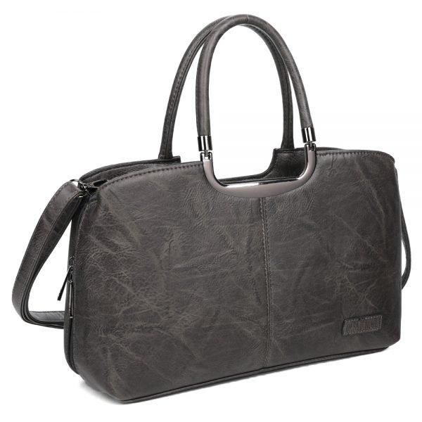 damen henkeltasche Johanna, Leder Vegan, Crossbody Bag, Crossbody, Messenger Bag, Schwarz, Ansicht Schräg SR-Material