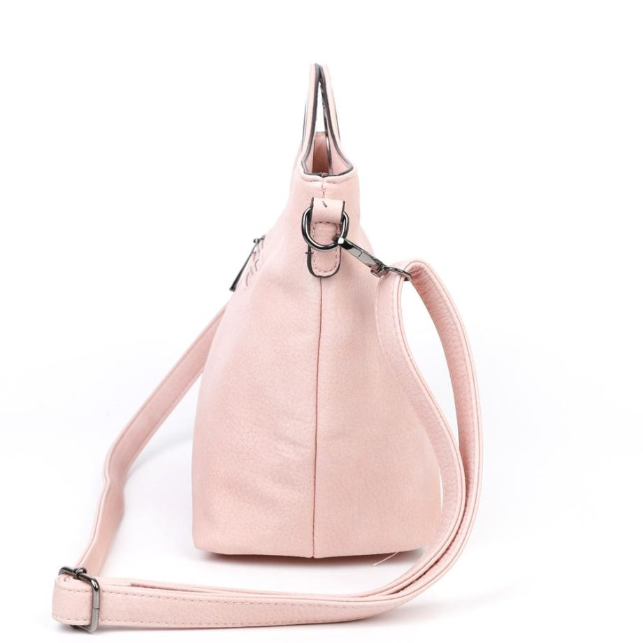 damen Henkeltasche Sophie, Leder Vegan, Crossbody Bag, Crossbody, Messenger Bag, Shopper Rose, Ansicht Seite B-Material