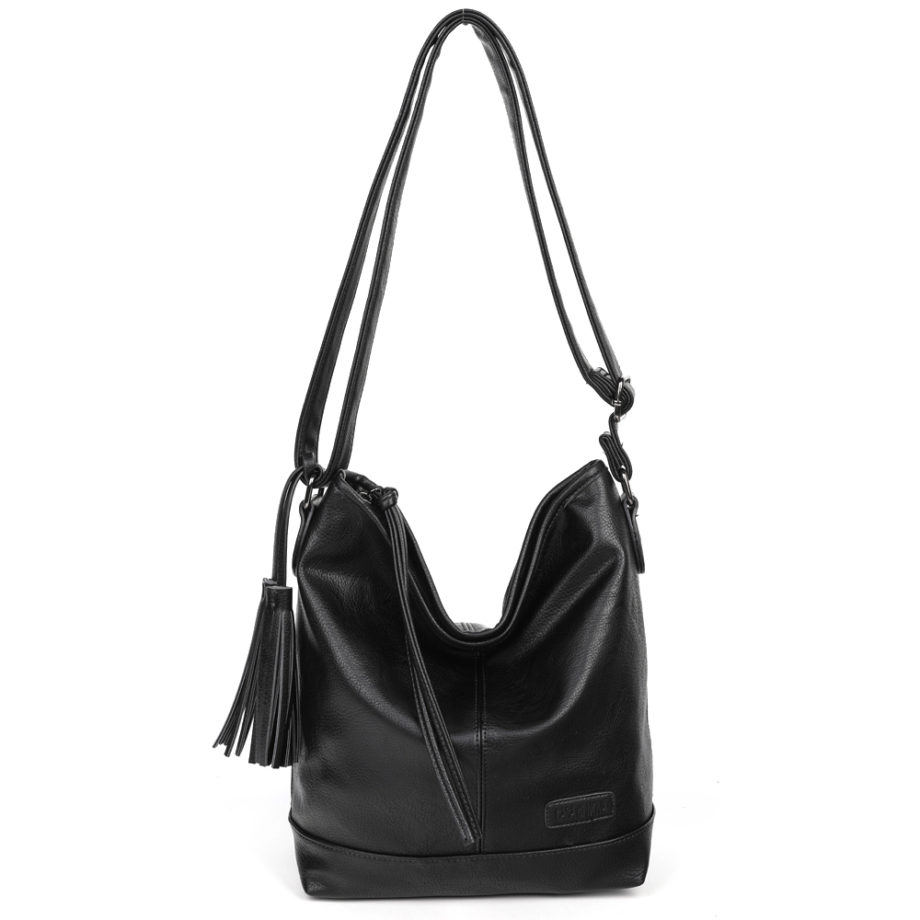 damen Shopper Tasche Nora, Leder Vegan, Crossbody Bag, Crossbody, Messenger Bag, Schwarz, BS-Material