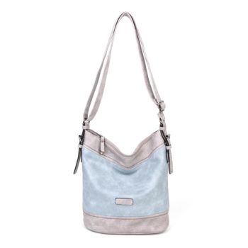 damen umhängetasche Helena, Leder Vegan, Crossbody Bag, Crossbody, Messenger Bag, Hell Blau, MO-Material
