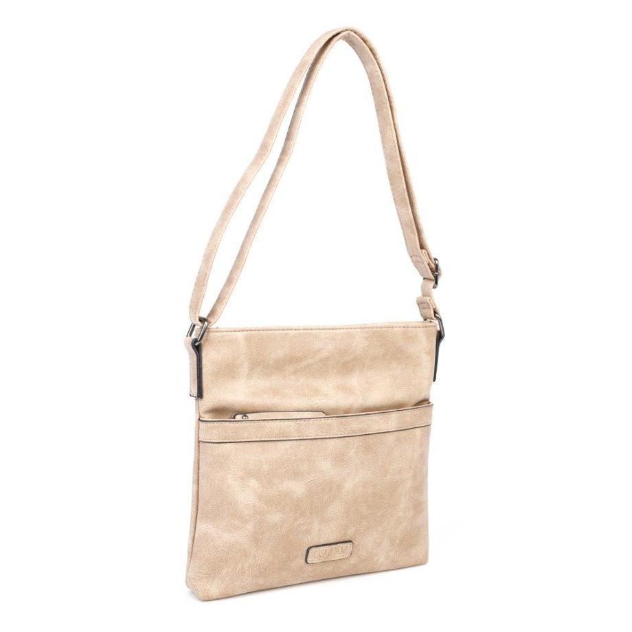 damen umhängetasche Sarah, Leder Vegan, Crossbody Bag, Crossbody, Messenger Bag, Beige, Ansicht Schräg MO-Material