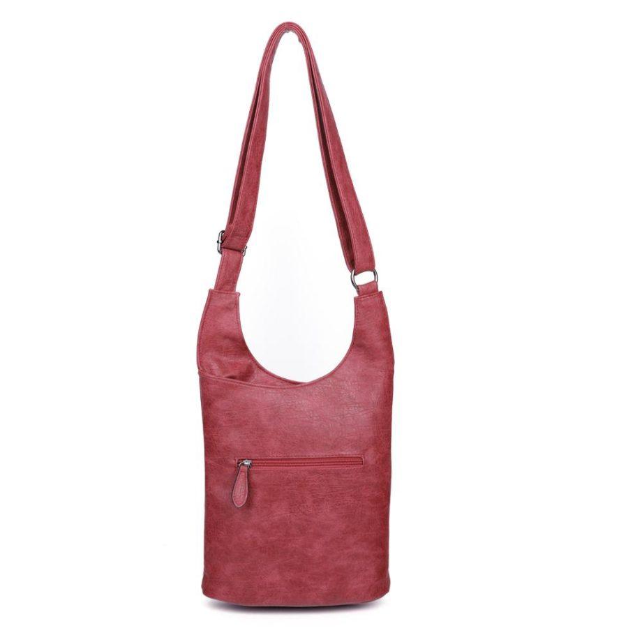 damen umhängetasche Clara, Leder Vegan, Crossbody Bag, Crossbody, Messenger Bag, Rot, Ansicht Hinten H-Material