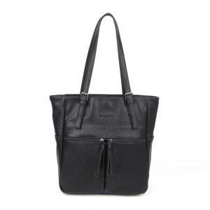 damen Shopper Tasche Emily, Leder Vegan, Crossbody Bag, Crossbody, Messenger Bag, Schwarz, H-Material