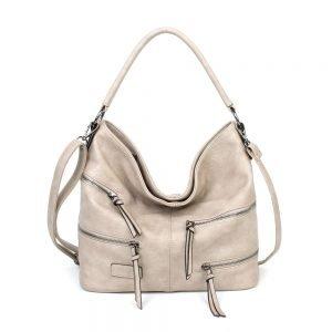 damen Shopper / Schultertasche Clara, Leder Vegan, Crossbody Bag, Crossbody, Beige, H-Material