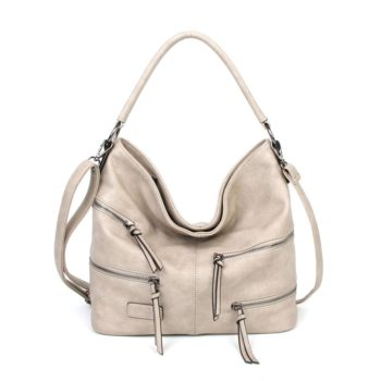 damen Shopper / Schultertasche Clara, Leder Vegan, Crossbody Bag, Crossbody, Beige, H-Material