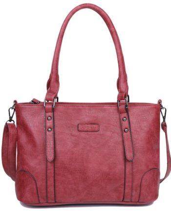 damen Shopper / Schultertasche Julia, Leder Vegan, Crossbody Bag, Crossbody, Rot, H-Material
