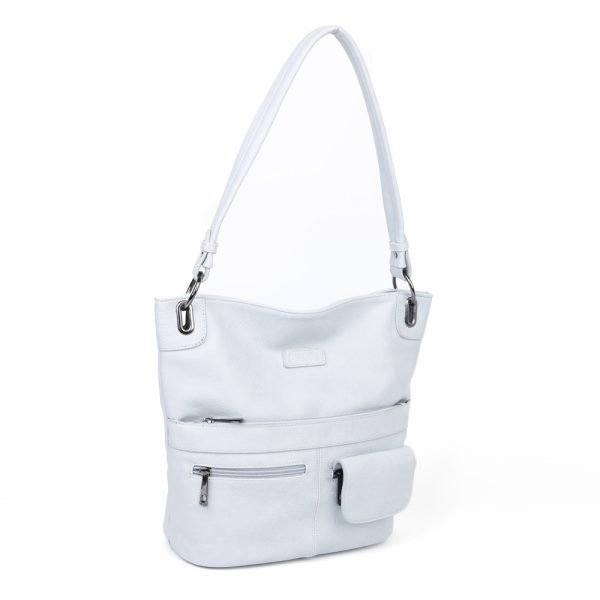 damen Shopper Tasche Nele, Leder Vegan, Crossbody Bag, Crossbody, Messenger Bag, Hell Blau, Ansicht Schräg BS-Material