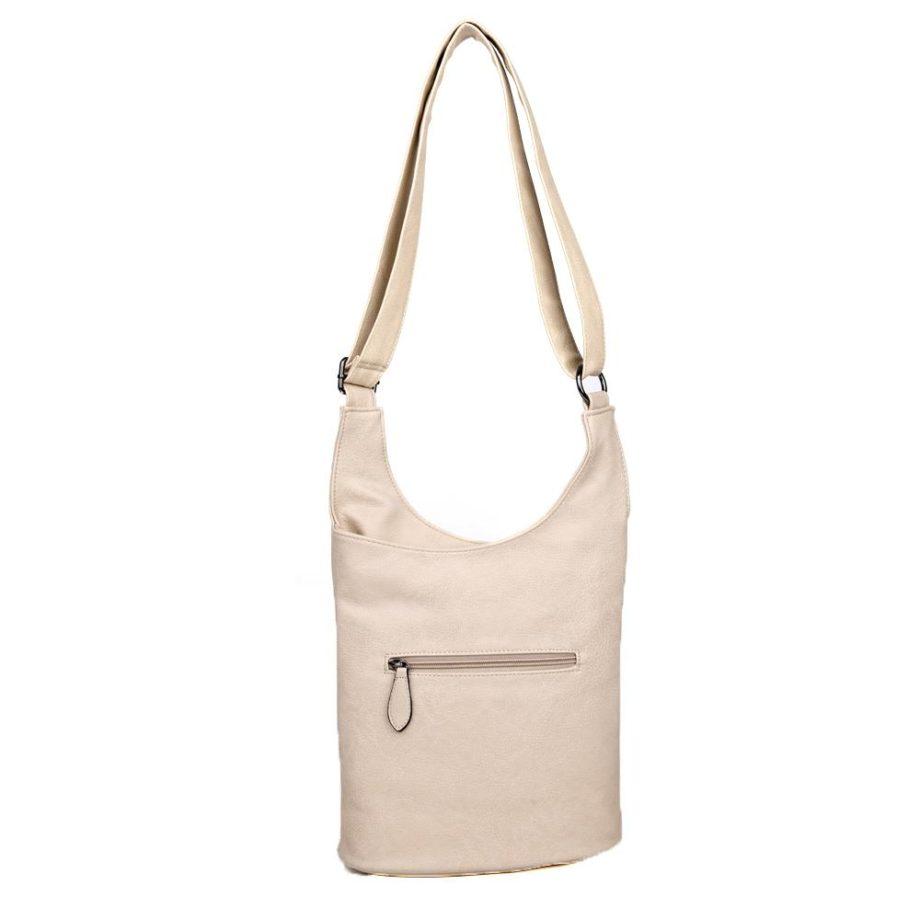 damen umhängetasche Clara, Leder Vegan, Crossbody Bag, Crossbody, Messenger Bag, Beige, Ansicht Hinten BS-Material