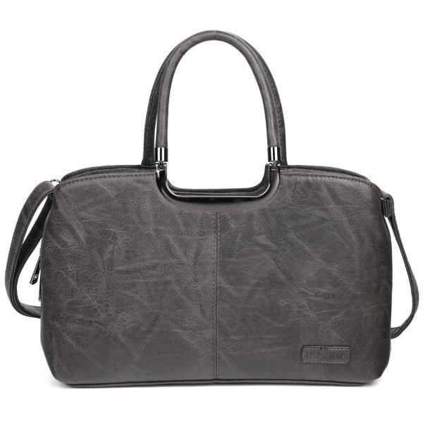 damen henkeltasche Johanna, Leder Vegan, Crossbody Bag, Crossbody, Messenger Bag, Schwarz, SR-Material