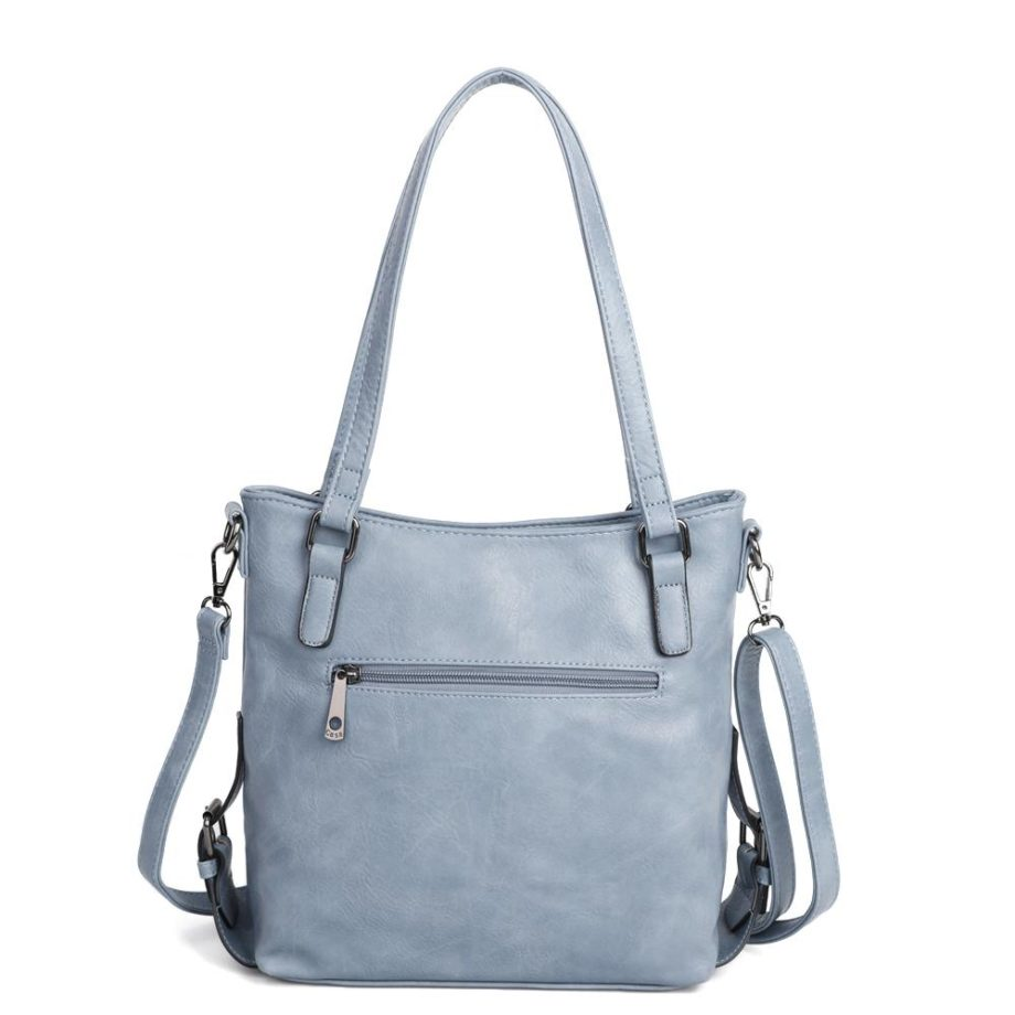 damen Schultertasche Amelie, Leder Vegan, Crossbody Bag, Crossbody, Messenger Bag, Hell Blau, Ansicht Hinten SR-Material