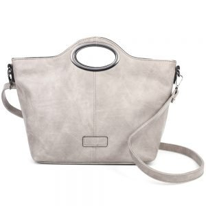damen henkeltasche Sophie, Leder Vegan, Crossbody Bag, Crossbody, Messenger Bag, dunkel Grau, SR-Material