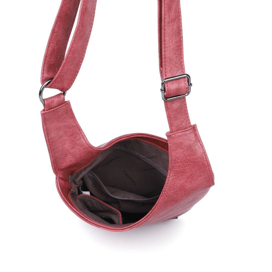 damen umhängetasche Clara, Leder Vegan, Crossbody Bag, Crossbody, Messenger Bag, Rot, Ansicht Oben H-Material