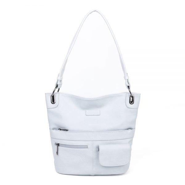 damen Shopper Tasche Nele, Leder Vegan, Crossbody Bag, Crossbody, Messenger Bag, Hell Blau, BS-Material
