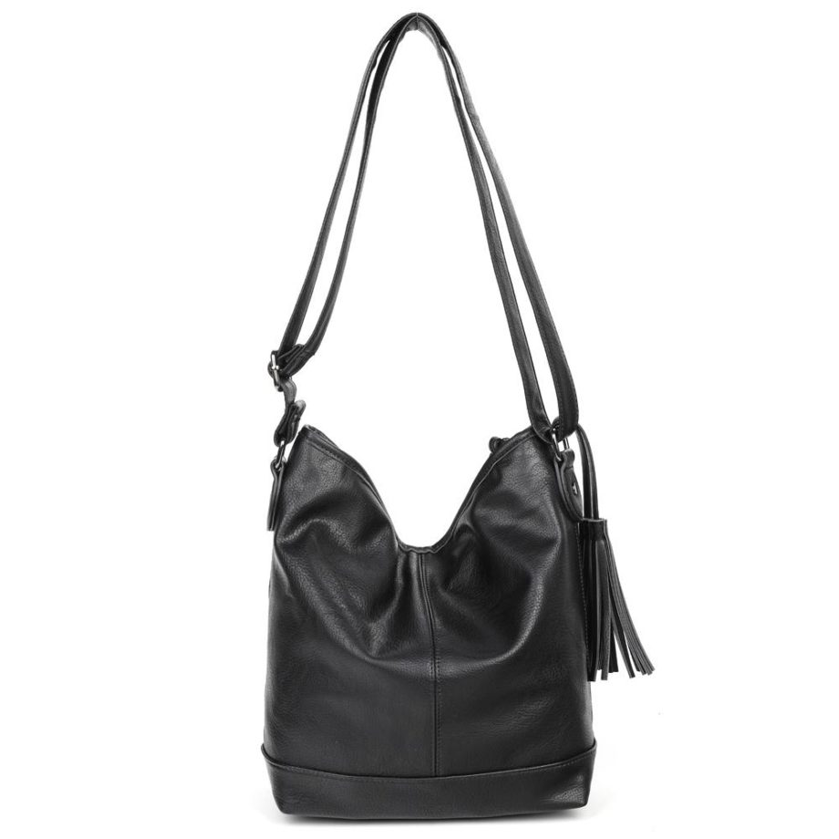 damen Shopper Tasche Nora, Leder Vegan, Crossbody Bag, Crossbody, Messenger Bag, Schwarz, Ansicht Hinten BS-Material