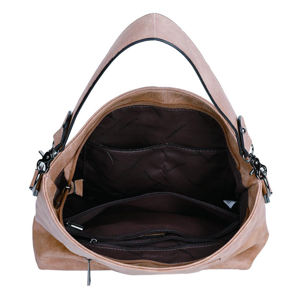damen schultertasche Marie, Leder Vegan, Crossbody Bag, Crossbody, Messenger Bag, Shopper Beige, Ansicht Oben MO-Material