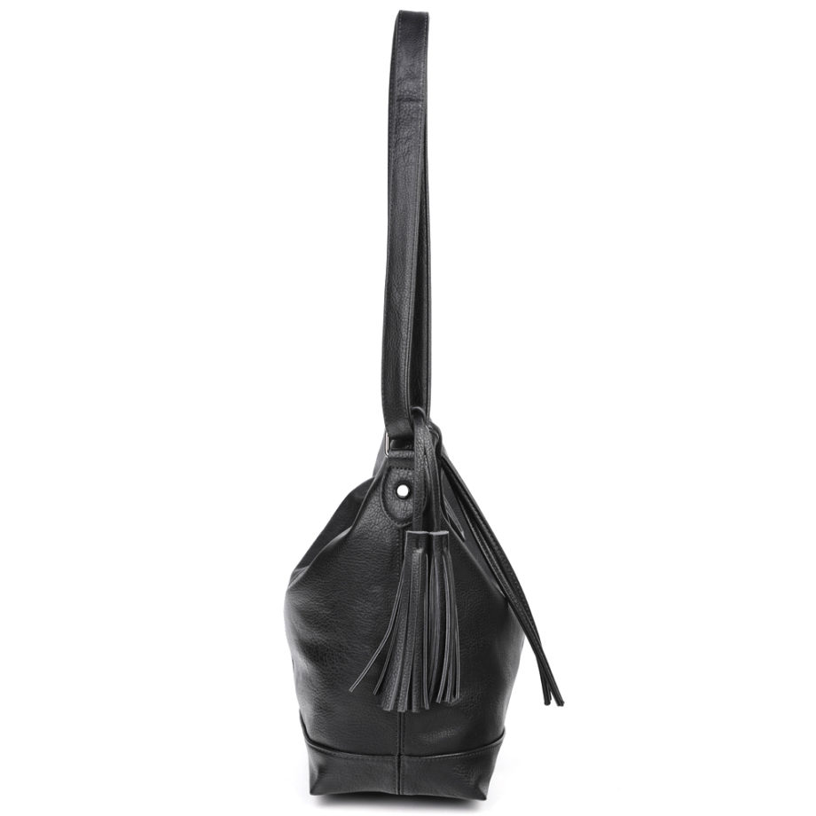 damen Shopper Tasche Nora, Leder Vegan, Crossbody Bag, Crossbody, Messenger Bag, Schwarz, Ansicht Seite BS-Material