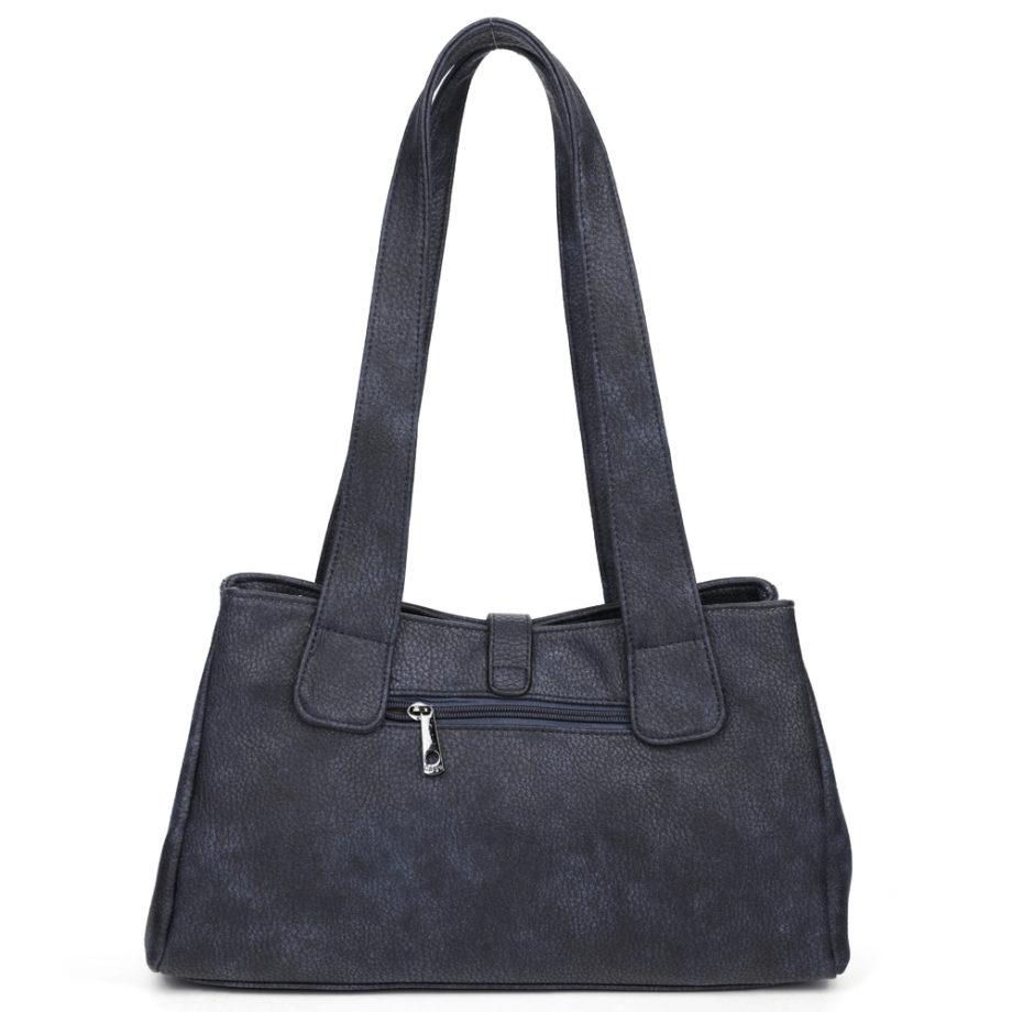 damen Schultertasche Pia, Leder Vegan, Crossbody Bag, Crossbody, Messenger Bag, Shopper Blau, Ansicht Hinten B-Material