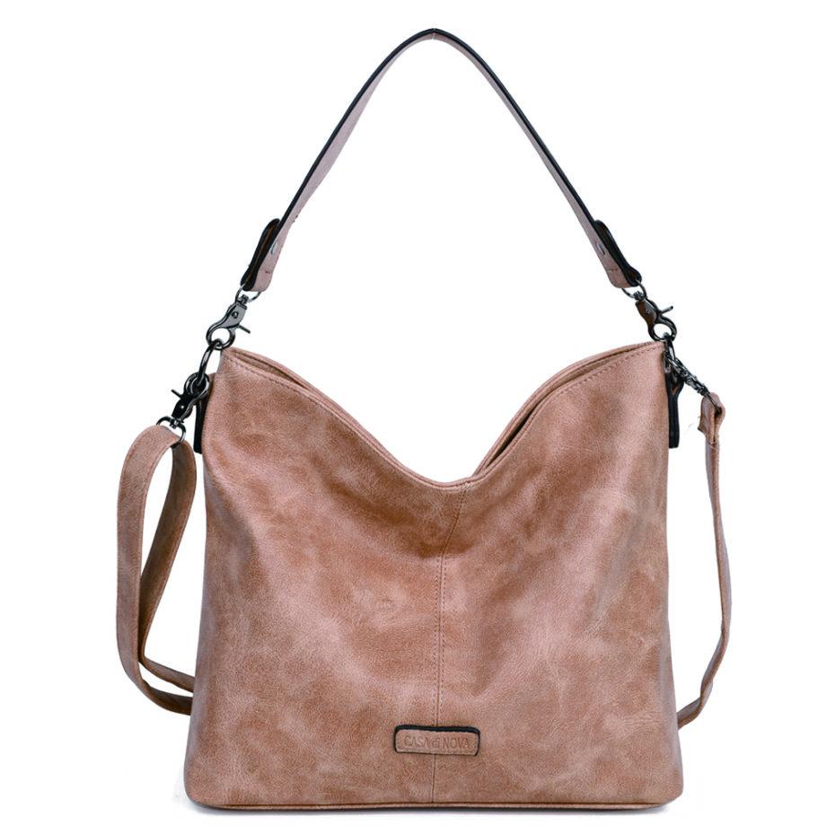 damen schultertasche Marie, Leder Vegan, Crossbody Bag, Crossbody, Messenger Bag, Shopper Beige, MO-Material