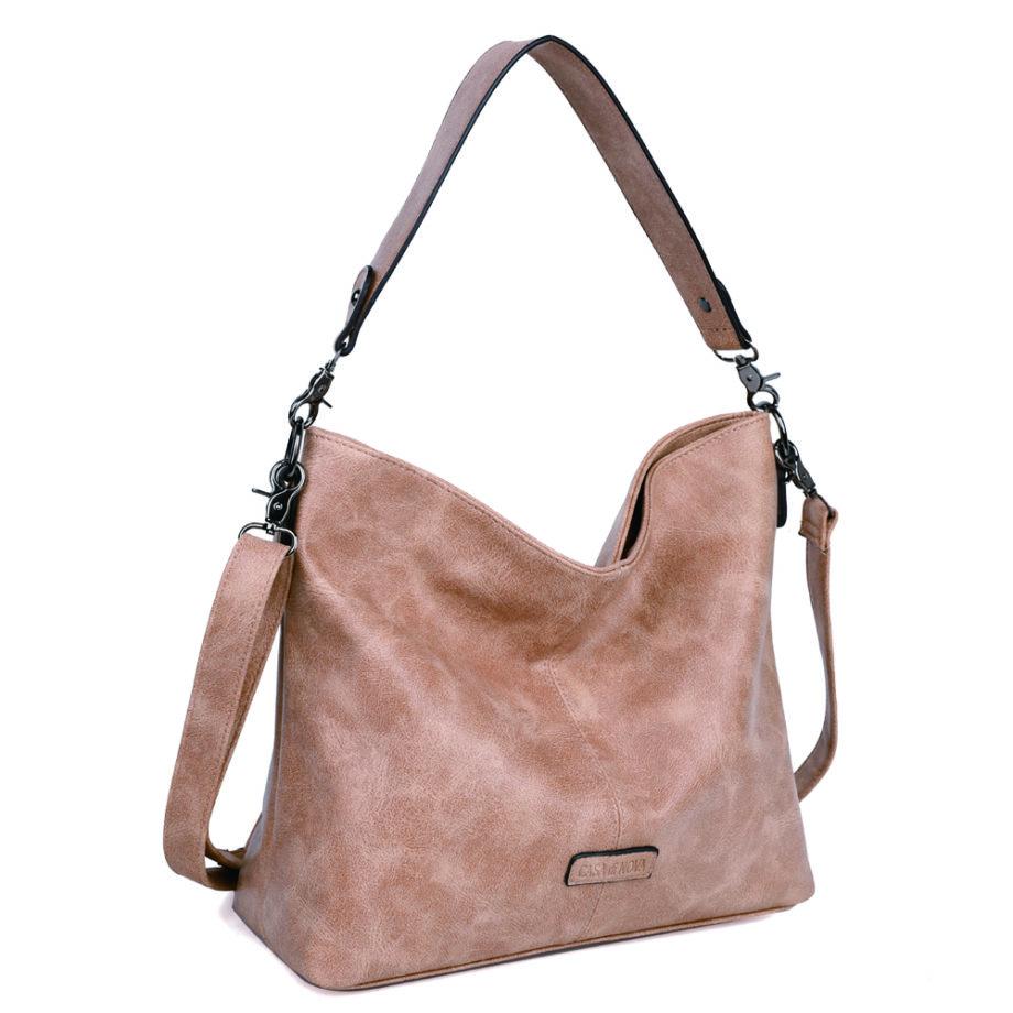 damen schultertasche Marie, Leder Vegan, Crossbody Bag, Crossbody, Messenger Bag, Shopper Beige, Ansicht Schräg MO-Material
