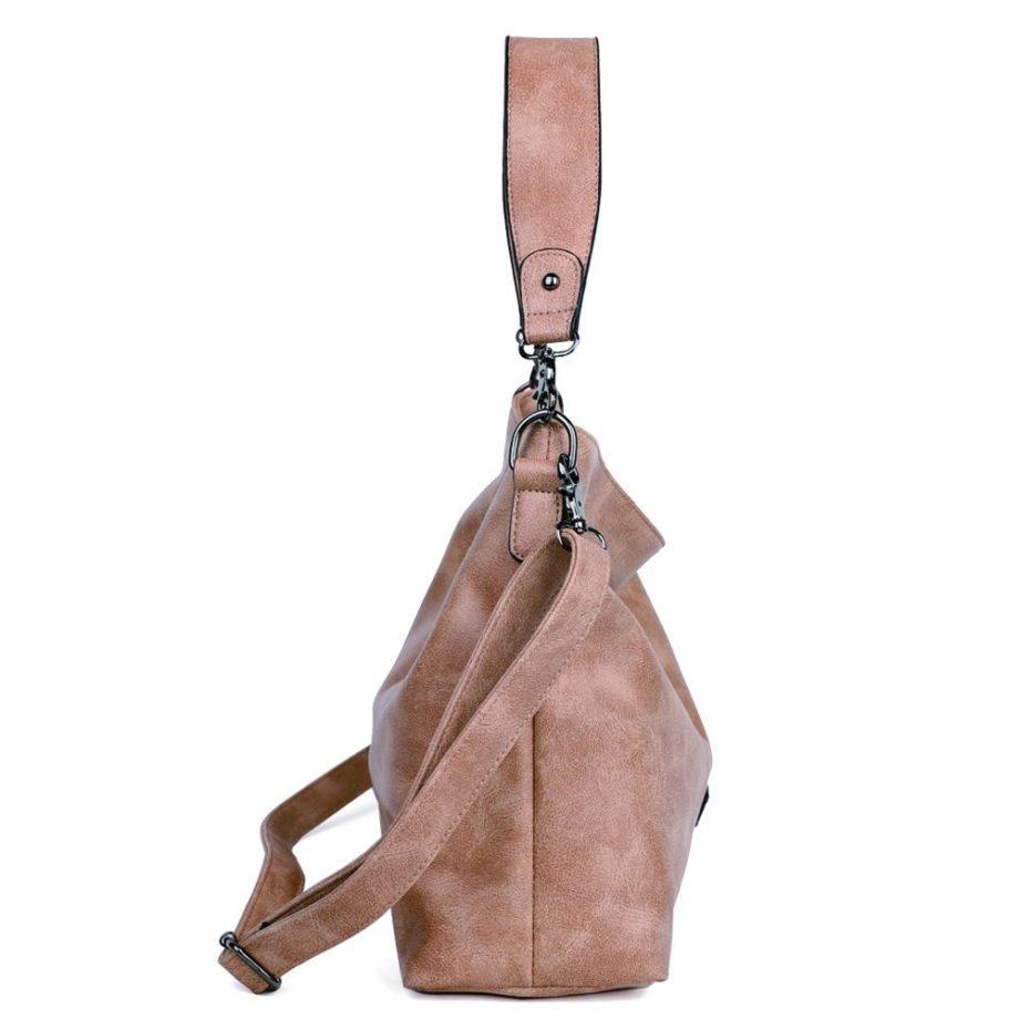 damen schultertasche Marie, Leder Vegan, Crossbody Bag, Crossbody, Messenger Bag, Shopper Beige, Ansicht Seite MO-Material