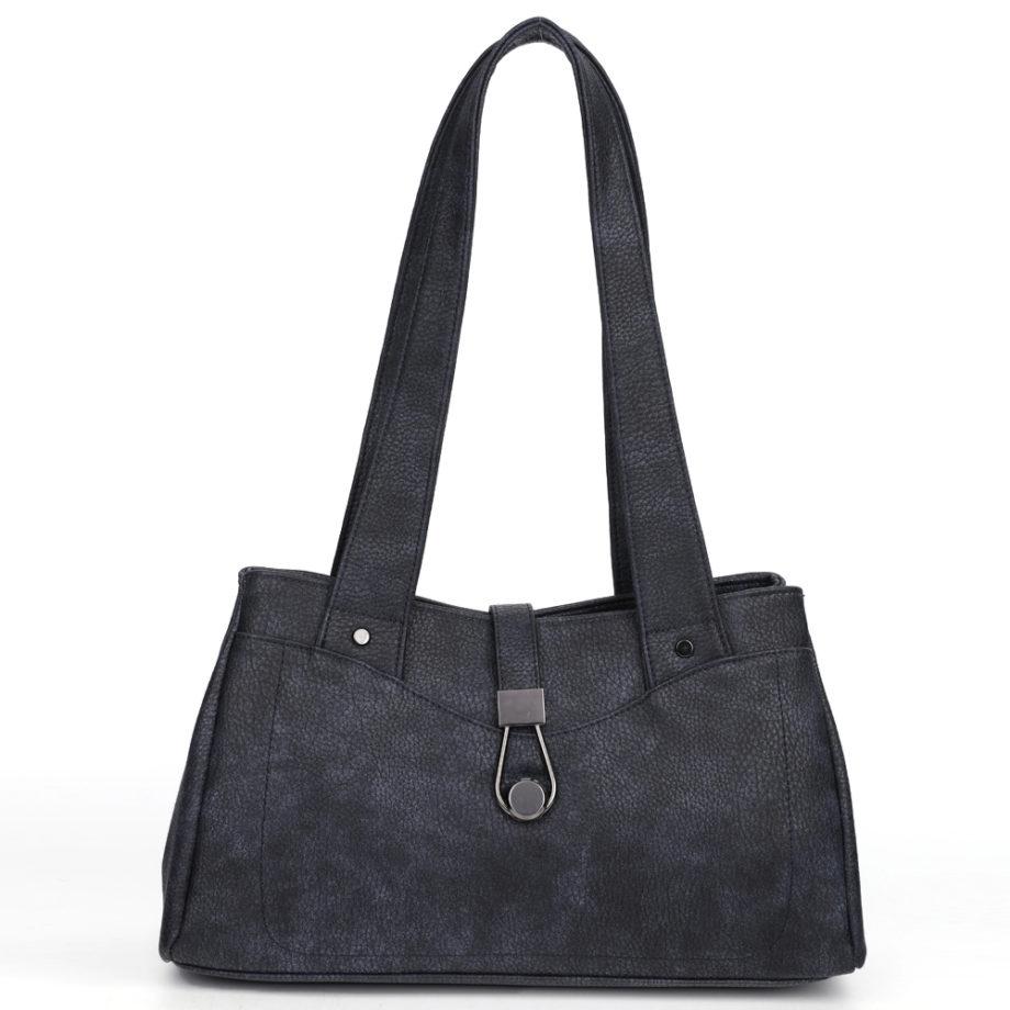 damen Schultertasche Pia, Leder Vegan, Crossbody Bag, Crossbody, Messenger Bag, Shopper Blau, B-Material