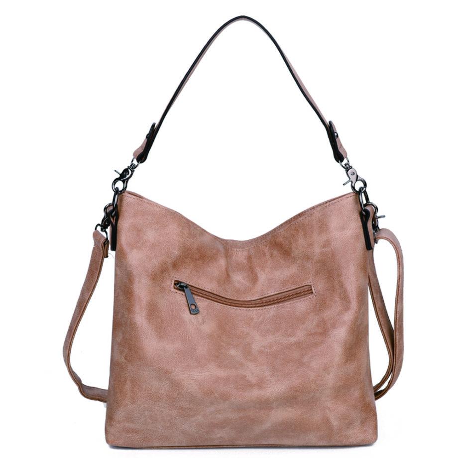 damen schultertasche Marie, Leder Vegan, Crossbody Bag, Crossbody, Messenger Bag, Shopper Beige, Ansicht Hinten MO-Material