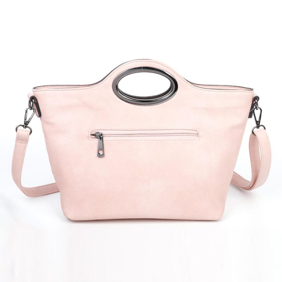 damen Henkeltasche Sophie, Leder Vegan, Crossbody Bag, Crossbody, Messenger Bag, Shopper Rose, Ansicht Hinten B-Material