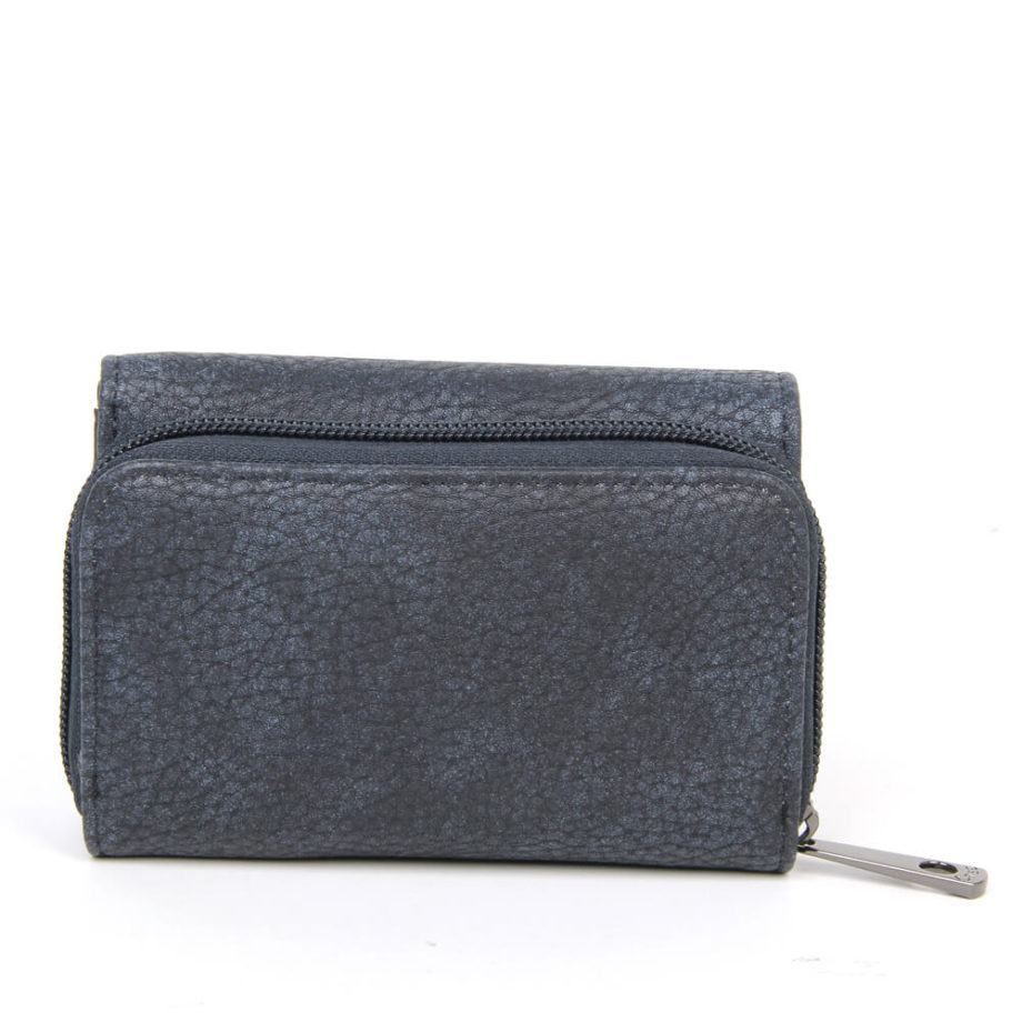 damen Geldbörse Theresa, Leder Vegan, Portmonee, Brieftasche, Geldbeutel, Säckel Blau, Ansicht Hinten B-Material