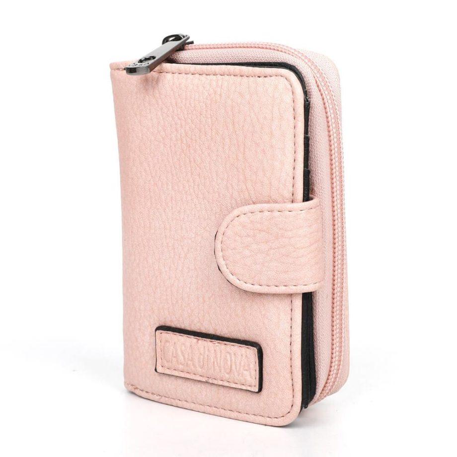 damen Geldbörse Romy, Leder Vegan, Portmonee, Brieftasche, Geldbeutel, Säckel Rose, Ansicht Schräg B-Material