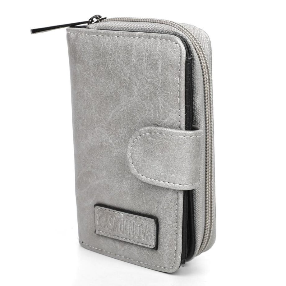 damen Geldbörse Romy, Leder Vegan, Portmonee, Brieftasche, Geldbeutel, Säckel Silber, Ansicht Schräg SR-Material