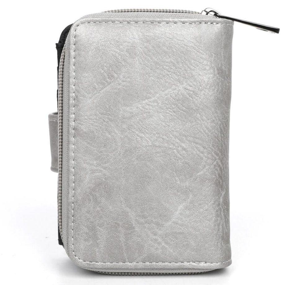 damen Geldbörse Romy, Leder Vegan, Portmonee, Brieftasche, Geldbeutel, Säckel Silber, Ansicht Hinten SR-Material