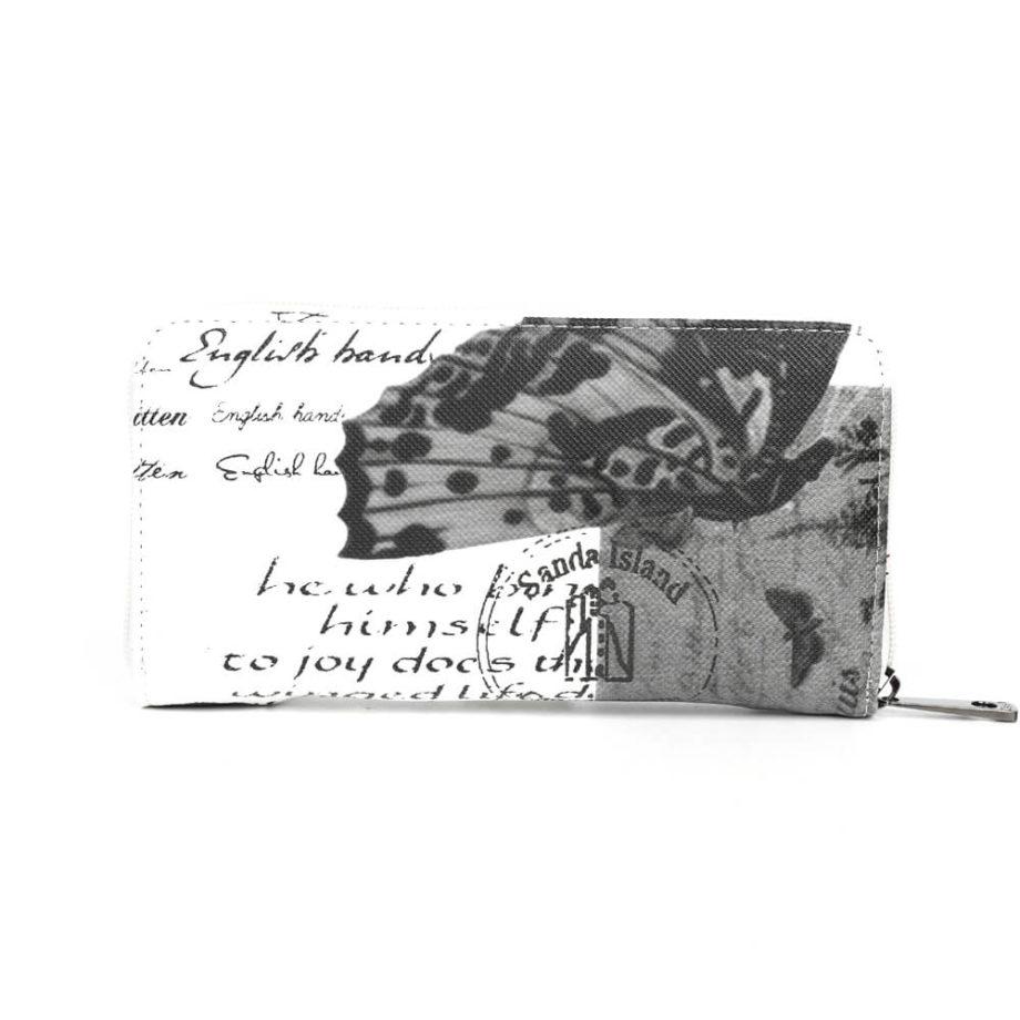 damen Geldbörse Isabell, Leder Vegan, Portmonee, Brieftasche, Geldbeutel, Säckel Schwarz, Ansicht Hinten BF-Material