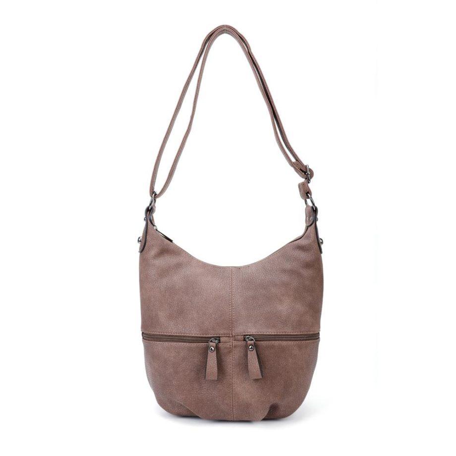 Braune Umhängetasche Damen, Handtasche, Crossoverbag, Jasmin, Tasche von vorne, B-Material