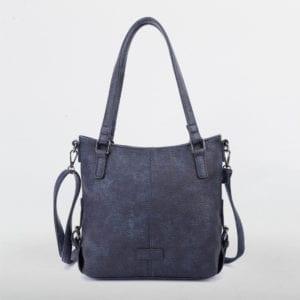 Blaue Schultertasche Damen, Handtasche, Crossoverbag, Amelie, Tasche von vorne, B-Material