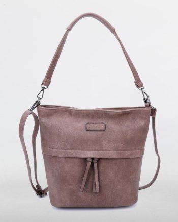 Braune Schultertasche Damen, Handtasche, Crossoverbag, Frieda, Tasche von vorne, B-Material